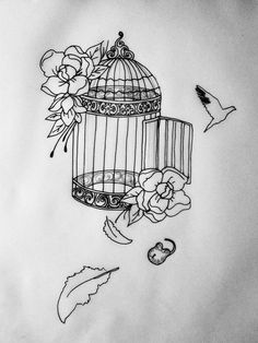 Bird cage tattoo idea