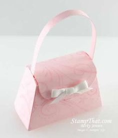 Pink Purse with white bow - cute party favor for bridal shower, baby shower, tea party, birthday party . . .