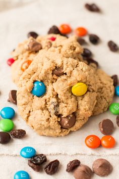 we can't stop making these cookies!! peanut butter with m&m's and chocolate!! ohsweetbasil.com
