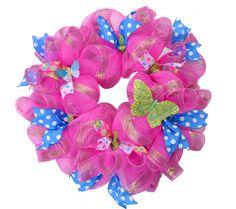 Wreaths For Door - Pink and Blue Mesh Door Wreath, $74.99 (http://www.wreathsfordoor.com/pink-and-blue-mesh-door-wreath/) mesh wreath, diy wreath, mesh door, wreathsdoor decor, door wreath