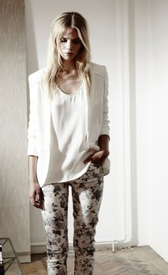 Floral skinnies + white blazers.