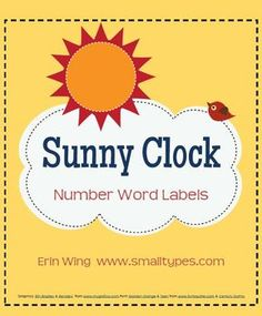 Sunny Clock Number Labels - FREE