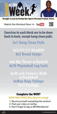 Purdue Rec Sports Personal Trainer, Steve, designed this Week's Workout of the Week! #MoveMoreAchieveMore #PURecSports