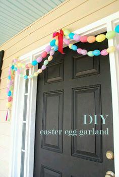 holiday, egg garland, diy easter, easter crafts, front doors