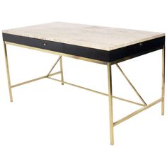 Modernist Travertine and Brass Desk by Paul McCobb for Calvin/Irwin Collection, circa 1950's | From a unique collection of antique and modern desks and writing tables at http://www.1stdibs.com/furniture/tables/desks-writing-tables/