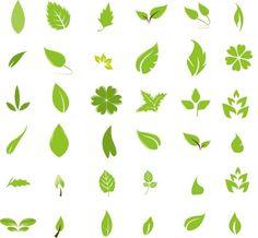 Green leaf design elements