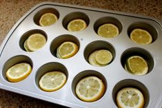 Pour water on top of lemons and freeze  in silicone muffin pan - perfect way to refresh pitchers of water