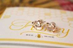 Bee Mine... Melissa Joy Manning Herkimer Diamond Stud Earrings and Letterpress Valentine by Snow & Graham.