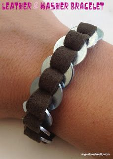 Leather and Washer Bracelet
