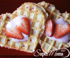 Berry Sweet Waffles - Treat your kids to a little love in the morning with these super easy Valentine's Day waffles. Tag: Valentines Day Recipes for Kids | Valentines Day Treats | Easy Valentines Day Recipes | Valentines Day Breakfast
