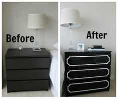 Black Malm 3 drawer with Anne panels decor, idea, overlay, dressers, malm dresser, furnitur, apart, diy, ikea hack