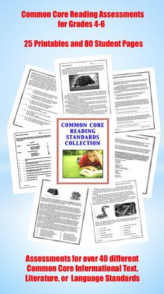 The Common Core Reading Collection contains TWENTY-FIVE different content-rich, meaningful reading assessments and 80 full pages of student work! These printables were created to target well over 40 different Elementary Level Common Core Informational Text, Literature, or Language Standards $