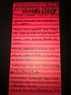 Hunger Games, Drinking Games :)