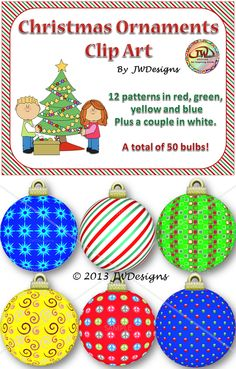 Fun Christmas Ornaments clip art to perk up any TPT seller or digital scrapbooking project.  300 DPI PNG.  12 patters / 5 colors.  50 bulbs total!  For personal or commercial use.