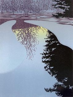 Ice Dawn Linocut Print Created by William Hays