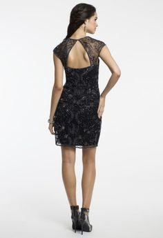 Beaded Mesh Cap Sleeve Top with Cutout Back from Camille La Vie and Group USA