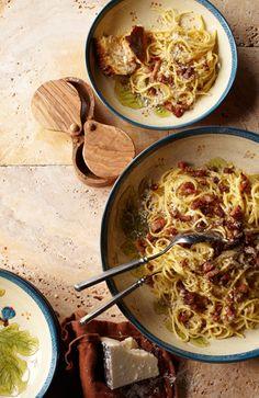 Bacon and eggs pasta.  Sounds delicious!!