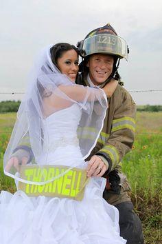 firefighter wedding, bride