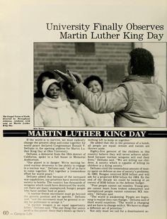 """Spectrum Green yearbook, 1983. """"University finally observes Martin Luther King Day"""" :: Ohio University Library."""