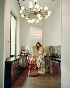 Carolina Castiglioni. Light fixture and high chair