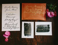leather invitation