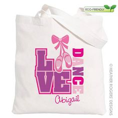 Dance Bag  Personalized Ballet Canvas Tote by HeatherRogersDesigns, $14.00