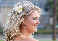 wedding hair down flowers