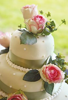 The cake was created by a friend and adorned with fresh roses. Millie B Photography.