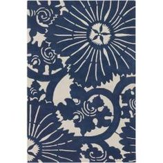 Counterfeit Studio Blue Geometric Hand-tufted New Zealand Wool Rug