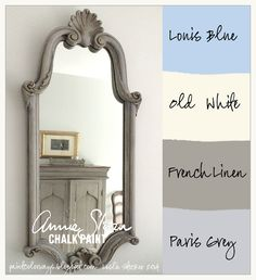 neat color=Painted with Annie Sloan Chalk Paint® in layers of French Linen, Paris Grey, Old White, and Louis Blue, with gold accents.