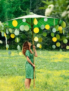 paper garlands, hanging decorations, summer parties, cocktail, green party, shades of green, parti umbrella, bridal showers, baby showers