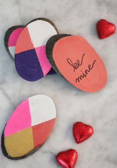 Hand Painted Wood Slice DIY Valentines | Camille Styles