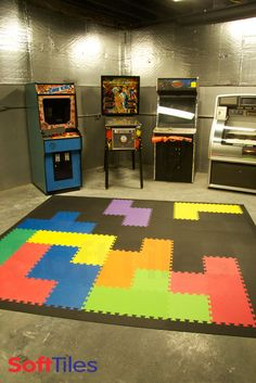 Tetris inspired game room floor using SoftTiles Interlocking Foam Mats. This idea can be used for any playroom.