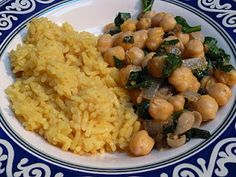 Curry Rice and Spiced Garbanzo Beans with Spinach