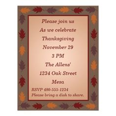 Thanksgiving Invitation - Thanksgiving Leaves