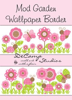 Pink Brown Butterfly Ladybug Wallpaper Border Wall Decals for Baby Girl Nursery, Children's Bedroom Decor, and any Home Decorating Ideas #decampstudios