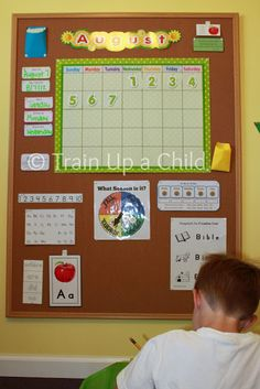 starting preschool with Eli at home this year...great board to refer to visually each day!