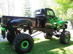 1950 Chevy P/U. Not much for the REALLY jacked up trucks, but this is bad ass! chevy trucks, car, jacked up trucks, 1950 cheverlot, 1950 chevi, chevi truck, nice ride, awesom ride