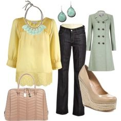 cloth, style, color combos, spring colors, outfit, wedg, pastel colors, shoe, coat