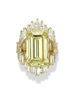 A COLOURED DIAMOND RING   Centering upon a fancy vivid yellow rectangular-cut diamond, weighing approximately 19.27 carats, to the marquise-shaped and baguette-cut diamond surround and shoulders, mounted in gold