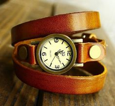 Rugged Chic Leather Watch. $10.90, via Etsy.