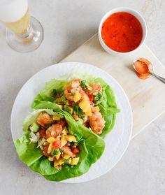 beer battered shrimp lettuce wraps with mango avocado salsa