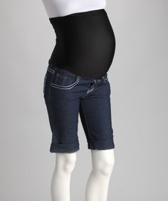 Blue Over-Belly Maternity Bermuda Shorts