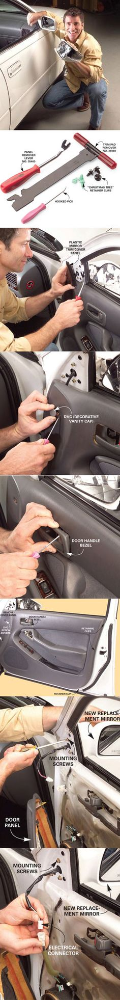 Replacing a broken side view mirror is easier and cheaper than you might think. Once you have the right tools, the hardest part is just finding the hidden fasteners. We will walk you through it step-by-step at http://www.familyhandyman.com/DIY-Projects/Car---Truck/Auto-Repair/replace-a-broken-side-view-mirror
