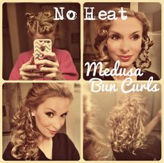 """No heat """"Medusa Bun Curls"""" - twist and pin large sections of partially damp hair, sleep on it over night, take down and seperated with just your fingers in the morning. No heat damage!!"""