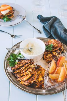 Parsnip Latkes with Mustard Cashew Cream and Honey Roasted Apples recipe #vegetarian #glutenfree #dairy free} | From @deliciouseveryd deliciouseveryday.com