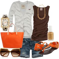 brown/orange summer outfit