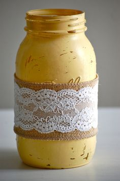 Decorating Mason Jars with Burlap | , burlap/lace mason jar, rustic wedding decor, farmhouse decor ...