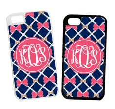 Monogrammed Navy Pearls And Bows Cell Phone Case