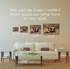 A size comparison created with the couch template from the photographer's wall display guides: www.arianafalerni.com/design